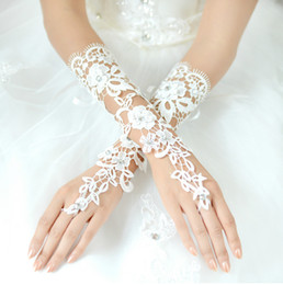 Wholesale Fingerless Fashion Gloves - Fashion 2017 Lace Bridal Gloves White Long Fingerless Elegant Wedding Accessories Party Gloves Cheap Bridal Lace Glove