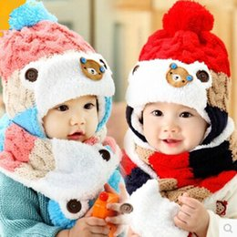 Wholesale Hat Scarf Bear Pink - Wholesale-New 2014 Baby Winter Hats Cartoon Baby Boy Girl Striped Woolen Hats Newborn Bear Baby Beanies+Scarf Twinset free shipping