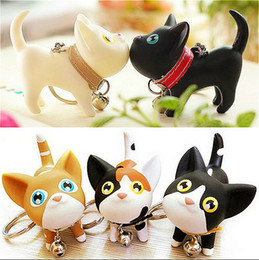 Wholesale Men Pussy Toy - Fashion Cartoon Key Rings Plastic Meow Pussy Doll Keychain Cat Bell Toy Couple Lover Key Chain Rings For Handbag Cute Gift