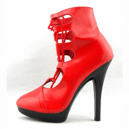 Wholesale Womens Red Short Boots - Sexy Comfortable Cut-Outs 15cm Short-Leg High-Heeled Shoes Sexy Boots 6 Inch Womens Ankle Boots Club Heels