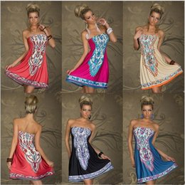 Wholesale Strapless Indian Dress - Fashion Dress 2016 Women Sundress Robe Vintage Beautiful Cheap Dresses Dashiki Skater Dress Robe Sexy Femme Beach Indian Dress