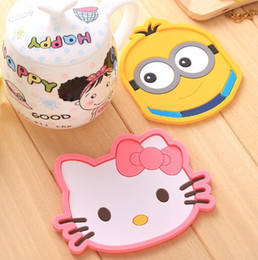 Wholesale Drinking Table - Free Shipping Cartoon animal silicone dining table placemat coaster kitchen accessories mat cup bar mug cartoon animal drink pads