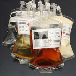 Wholesale Halloween Pvc Props - 1pc Clear Food Grade PVC Material Reusable Blood Energy Drink Bag Halloween Pouch Props Vampire