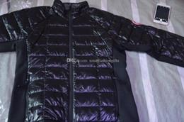 Wholesale Canada Buttons - Winter Down Jacket Hybridge Lite Hoodies Zippers Brand Designer Canada Jackets Men Warm Coat Design Outdoor Coats XXXL Plus Size