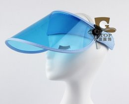 Wholesale Clear Plastic Visor - Wholesale-new UV protection clear plastic sun visor cap bicycle outdoor wide brim hat HT-8