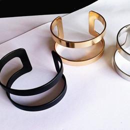 Wholesale Black Metal Bangles - 2017 simple geometrical times feeling Punk rock fashion female bracelet jewelry High quality metal black bracelet EE881