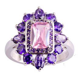 anillos de oro topacio rosa Rebajas Venta al por mayor hecho a mano mujeres gemas anillos envío gratis 18 K oro blanco plateado anillo tamaño 9 Lab Pink Topaz Amatista joyería