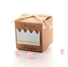 Wholesale Blue Paper Gift Box - 100pcs Prince Sky Blue Boy Baby Shower Paper Pillow Cream Wedding Decoration Favors and Gifts Wedding Supplies Candy Boxes Gift Packaging