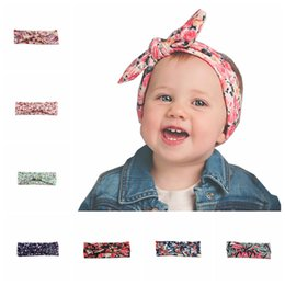 Wholesale Little Girls Hair Bows - Mix Baby Headbands Bohemian cotton girl bow Headband Little flowers print Twist Head Wrap Twisted Knot Soft Hair band Bandanas New Hotsale