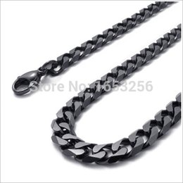 Wholesale Black Curb Chain Necklace - 18''-32'' Wide 8mm Black Top Quality Never Fade Stainless Steel Men Solid Cuban Link Chain Curb Necklace Fashion Gifts