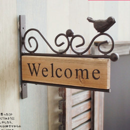 Wholesale Welcome Garden - Free Shipping !Vintage Style Iron Bird Design Welcome Board Wooden Wall Hanger Home Decor Garden Welcome Deocration
