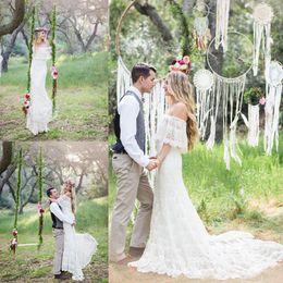 Wholesale Half Full Sleeve Dresses - 2016 Mermaid Bohemia Wedding Dresses Off Shoulder Full Lace Applique Wedding Gowns Sweep Train Half Sleeve Vintage Best Selling Bridal Dress
