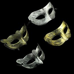 Wholesale Men Masquerade Masks Wholesale - Retro Greco-Roman Mens Mask for Mardi Gras Masquerade and Gladiator masquerade Vintage Golden Silver Mask silver Carnival Halloween Masks
