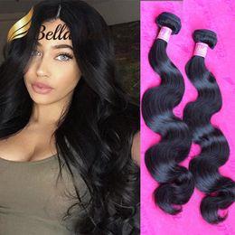 Wholesale Malaysian Virgin Hair Weave 2pcs - 2pcs lot 10A Peruvian Malaysian Virgin Hair Bundles Double Drown Brazilian Human Hair Weaves Weft Bella Thickness Raw Indian Hair Extensions