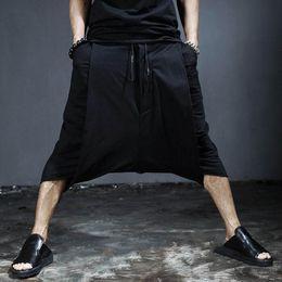 Wholesale Drop Waist Dress L - Wholesale-Dress Mens Baggy Pants 2016 Trousers Men Culottes Japanese Unique Designer Harajuku Rock Hip Hop Drop Crotch Men's Pants Skirt