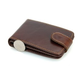 Wholesale Business Scan - Mens Genuine Leather Vintage Handmade RFID Anti Scan Wallet Purse Cardholder Chocolate Color 8121