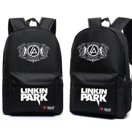 Wholesale Music School Bag - for kids 2017 Hot Teenagers Harajuku Canvas School Backpacks Galaxy Rock Music Linkin Park Printing Shoulder Bag Gift For Kids Mochila