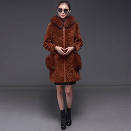 Wholesale Sheepskin Fox Fur Coat - 2017 Free shipping Jiashibao Women's Sheepskin wool-one with Fox Fur Collar Sheepskin wool-one Coat Warm Hoodie Jacket Outwear