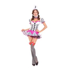 Wholesale Female Funny Costumes - Halloween Cosplay Funny Circus Clown Outfits Set Of 3 Items For Women Short Sleeve Tutu Fancy Dress Sexy Harley Quinn Suit W414017