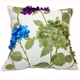 Wholesale functional fiber - Square Cotton Decorative Cushion Cover For Sofa , 44Cm *44Cm ,Embroidery Cushion Cover ,Throw Pillow Case Cover