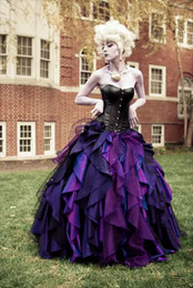 Wholesale Victorian Halloween Ball Gown - Purple and Black Organza Taffeta Ball Gown Gothic Wedding Dress Corset Victorian Halloween Bridal Gowns Custom Made