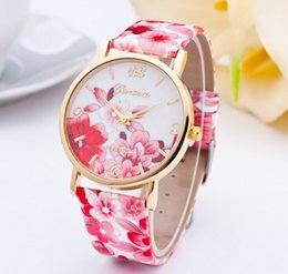 Wholesale Nationals Watch - New Fashion Geneva Rose Flower Watch For Women Dress Watch National Vintage Women's Leather Wrist Watches