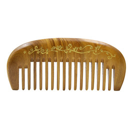 Wholesale Flower Hair Dryer - Wood Pocket Comb Hair Care Styling Tool Beauty Sandalwood Flower Cavring Wide Tooth Hair Brush Comb No StaticMassage Hair Brush Comb Gift