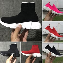 Wholesale Kids Fashion Boots - With Box Kids Fashion Ankle Boots Speed Stretch Mesh High Top Trainer Running Shoes Speed Knit Sock Mid-Top Casual Sneakers