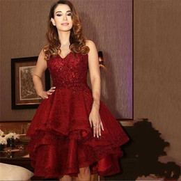 Wholesale Deep Pink Graduation Dress - Dark Red Knee Length Cocktail Dresses 2016 Sweetheart Lace Appliques Sequins Short Homecoming Graduation Dresses Vintage Formal Party Gowns
