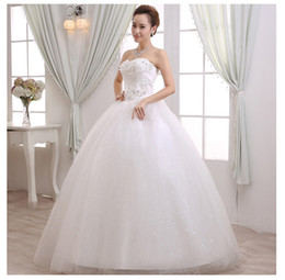 Wholesale Korean Up Skirts - 2016 Wedding Dress Korean Strapless Dress Han Edition Princess Elegant Beauty Party Pageant Ball Bridal Gown Skirt Red Carpet Dresses