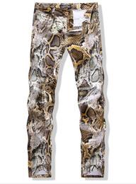 Wholesale Rock Jeans 32 - Mens Snake Skin Print Camoflague Original Designer Slim Hip Hop Rock Jeans Pants Men Skinny Jeans Streetwear 29-34