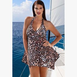 Wholesale Swimsuit Plus Sizes Free Shipping - L-6XL Plus Size Leopard Swimwear For Women One Piece Swimsuit Beach Bathing Suit Maillot De 1 Piece Bain Femme Free Shipping