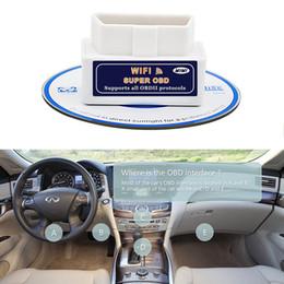 Wholesale Elm327 Car Diagnostics - Super WiFi OBD2 Car Diagnostics Scanner Scan Tool Mini ELM327 12v for PC iPhone Android iOS White