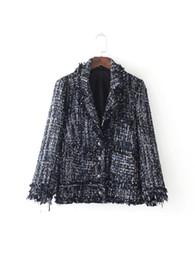 Wholesale Elegant Jacket Blazer - 2017090313 OL single breasted tweed blazer Women coats elegant slim suit blazer Black cool winter outwear short jacket coat