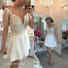 Wholesale Event Dresses Short - 2017 White Cocktail Dress Short Deep V-Neck Pearls Prom Party Dress Homecoming Dresses Formal Event Gown Plus Size vestidos de coctel