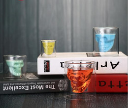 Wholesale Skull Wine - Magic Transparent Glass Skull Mugs Coffee Cups Bilayer Bar Wine Beer Drinkware Gift Tea Cups 4Size Whiskey Cup