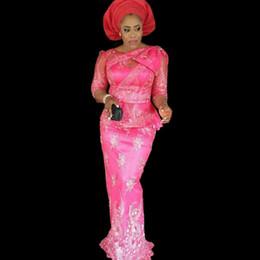 Wholesale Trumpet Style Maxi Dress - Fuchsia Nigerian Long Evening Dresses Nigerian Maxi Dress Top Popular Ore-Iyawo Aso-Ebi Styles Plus Size African Evening Dress 2017