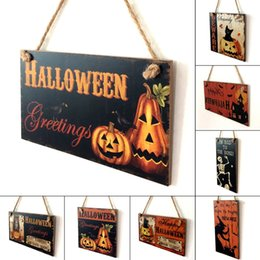 Wholesale Art Wall Plaque - Happy Halloween Decoration Wooden Hanging Plaque Board Sign Home Wall Window Art Decor Halloween Pumpkin Witch Ornament