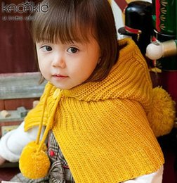 Wholesale Knitting Kids Ponchos - Children shawl autumn winter new boys girls big pompon sweater poncho Fashion kids cotton knitting hooded cape children scarf A9793