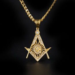 Wholesale Masonic Silver - Hip Hop Gold Plated Masonic Charm Pendant Iced Out Crystal Stainless Steel Silver Tone Freemason Pendant Necklace Collar Chain