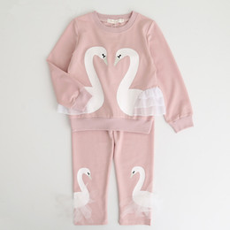 Wholesale Swan Set - 2017 Autumn kids suit clothes girl swan clothes top+pant set 2 pieces children long sleeve clothes suit