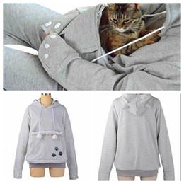 Wholesale Hoodies Ears For Women - Wholesale- Cute Cat Hoodies With Cat Cuddle Pouch Mewgaroo Nyangaroo Dog Pet Hoodies For Casual Unisex Kangaroo Hoodies Ears Sweatshirt 3XL