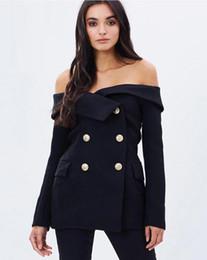 Wholesale Women Office Blazers - Apparel Off Shoulder Sexy Black Female Blazer Suit Jacket Slash Neck Vintage Slim Coat Office Casual Women Suit Blazer