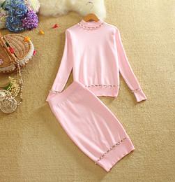 Wholesale Korea Blouse Dress - 2017 autumn winter Korea new round neck Beaded blouse And skirt Fashion Elegant two Piece Set Women Knitted Pink Skirts Suits