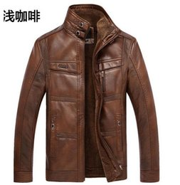 Wholesale Leather Jacket Wool Collar Men - Fall-2015 New Fashion men jacket coat BRAND leather winter jacket male thick velvet PU jaqueta couro coat jackets 3XL large size