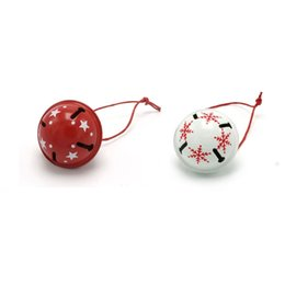 Wholesale Christmas Short Hair - door bells 6pcs 24pcs white & red metal Christmas jingle bell for home ornament 35mm*35mm*30mm free shipping <$18 no tracking
