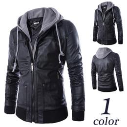 Wholesale Men High Quality Leather Jackets - 2017 new High quality men's fashion hooded Faux leather jacket Men motorcycle biker coat waterproof Casual Zipper Slim jacket M-3XL