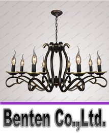 Wholesale Metal Candle Lamp - C100-240V European Candle chandelier Lustre American country home living room chandeliers light wrought iron Metal hanging lamp LLFA