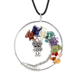 Wholesale Natural Chip Necklace - 1pc Gemstone Quartz Chips Bent Trees of Life Owl Pendant Necklace Bohemian Hippie Jewelry Natural Stone Leather Cord Necklace