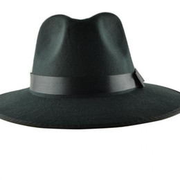 Wholesale Mens Brim Hats - Wholesale-YOCCAS Along The Winter Hat Vintage Jazz Cap Stage Visor British Men Sombreros Para Hombres Black Fedora Hats For Mens